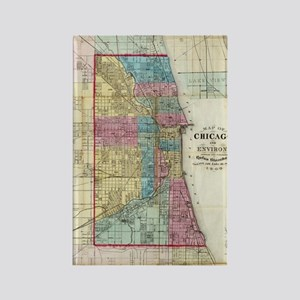 Vintage Map of Chicago (1869) Rectangle Magnet
