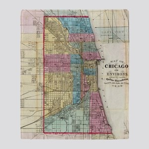 Vintage Map of Chicago (1869) Throw Blanket