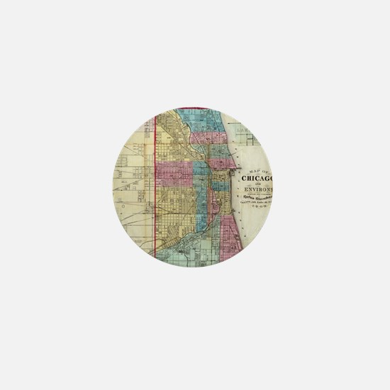 Vintage Map of Chicago (1869) Mini Button