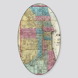 Vintage Map of Chicago (1869) Sticker (Oval)