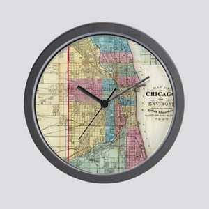 Vintage Map of Chicago (1869) Wall Clock
