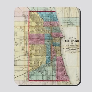 Vintage Map of Chicago (1869) Mousepad