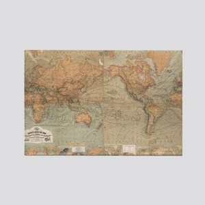 Vintage Map of The World (1870) Rectangle Magnet