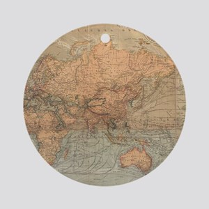 Vintage Map of The World (1870) Round Ornament