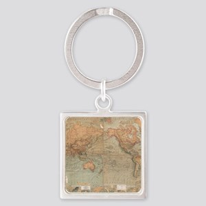 Vintage Map of The World (1870) Square Keychain