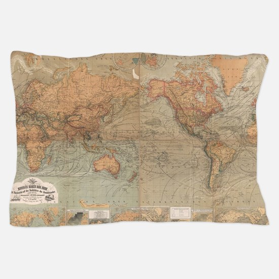 Vintage Map of The World (1870) Pillow Case