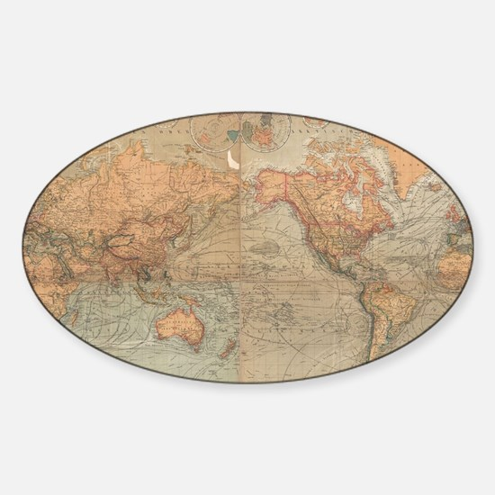 Vintage Map of The World (1870) Sticker (Oval)