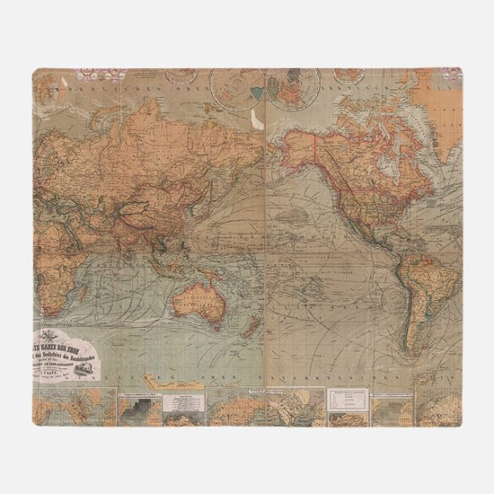 Vintage Map of The World (1870) Throw Blanket
