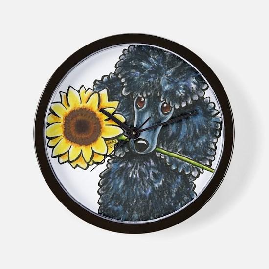Sunny Black Poodle Wall Clock
