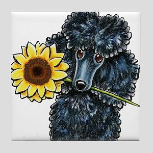 Sunny Black Poodle Tile Coaster