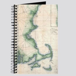 Vintage map of the Massachusetts Coastline Journal
