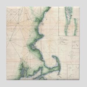 Vintage map of the Massachusetts Coas Tile Coaster