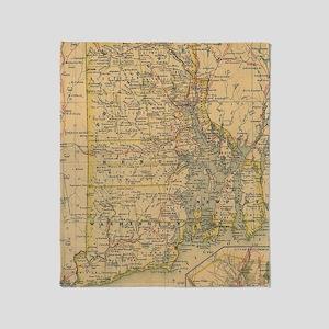 Vintage Map of Rhode Island (1875) Throw Blanket