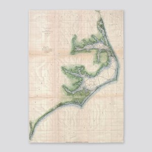 Vintage Map of The North Carolina C 5'x7'Area Rug