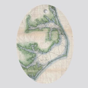 Vintage Map of The North Carolina Co Oval Ornament