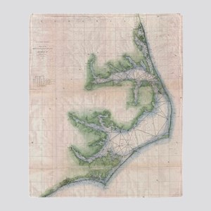 Vintage Map of The North Carolina Co Throw Blanket