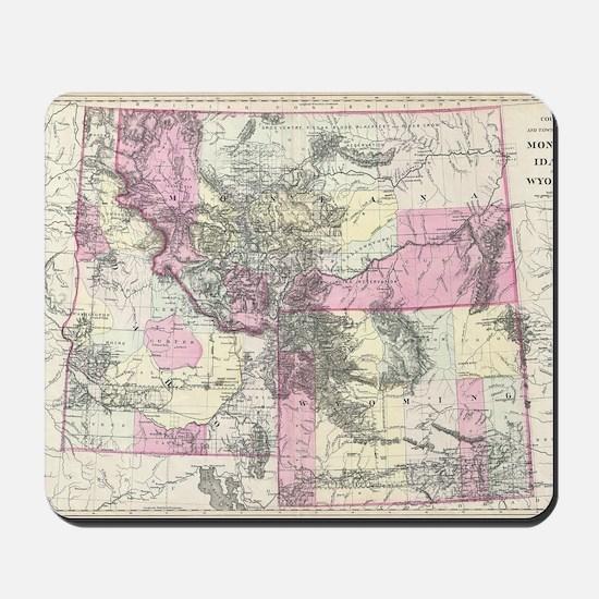 Vintage Map of Montana, Wyoming and Idah Mousepad