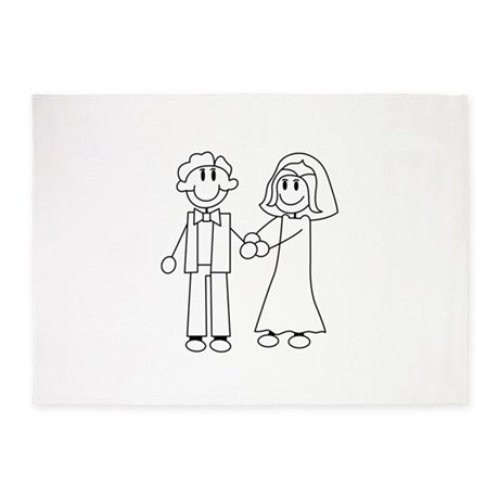 Bride Groom Outline 5 X7 Area Rug