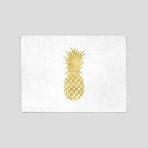 Gold Glitzy Pineapple 5'x7'Area Rug