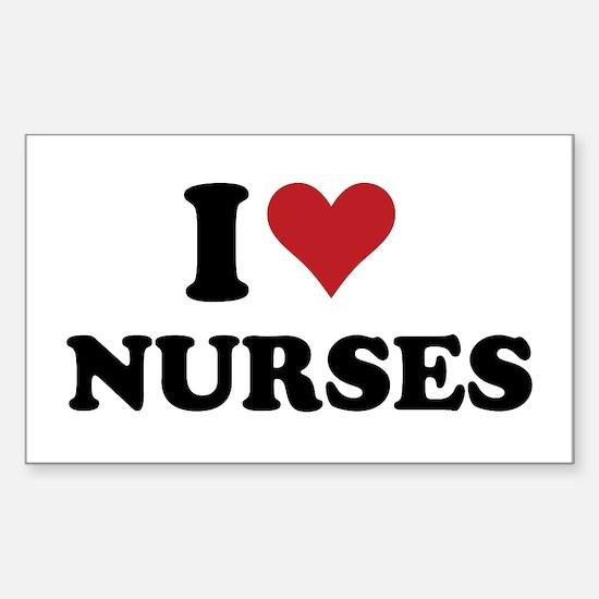 i heart nurses Rectangle Decal