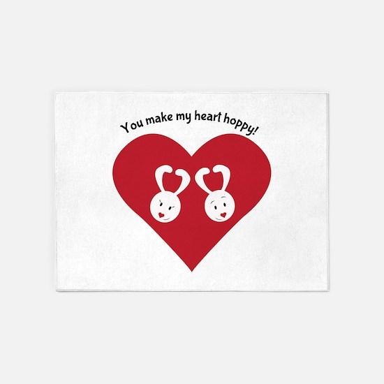 Hoppy Heart 5'x7'Area Rug