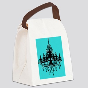 Teal Chandelier  Canvas Lunch Bag