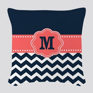 Navy Coral Chevron Monogram Woven Throw Pillow