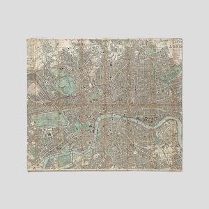 Vintage Map of London (1890) Throw Blanket