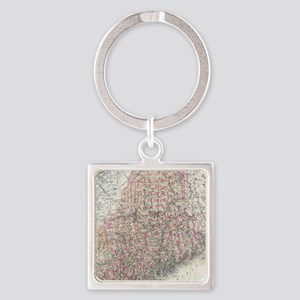Vintage Map of Maine (1894) Square Keychain