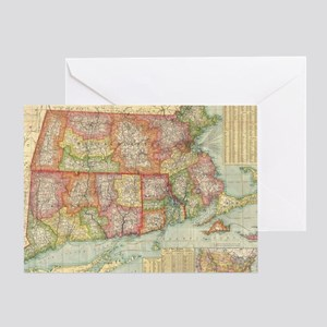 Vintage Map of New England States (1 Greeting Card