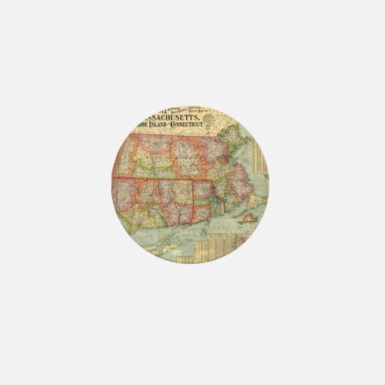 Vintage Map of New England States (190 Mini Button