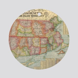 Vintage Map of New England States ( Round Ornament