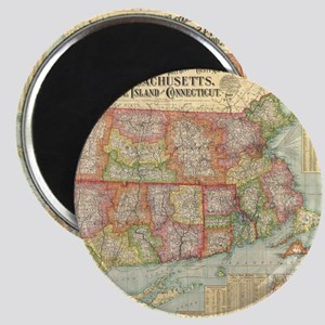 Vintage Map of New England States (1900) Magnet
