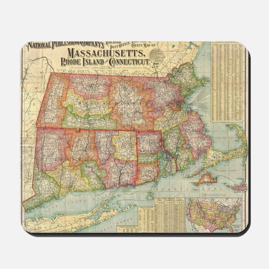 Vintage Map of New England States (1900) Mousepad