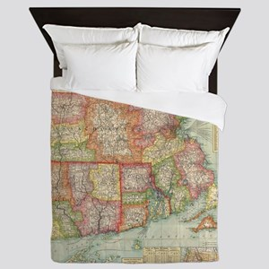 Vintage Map of New England States (190 Queen Duvet