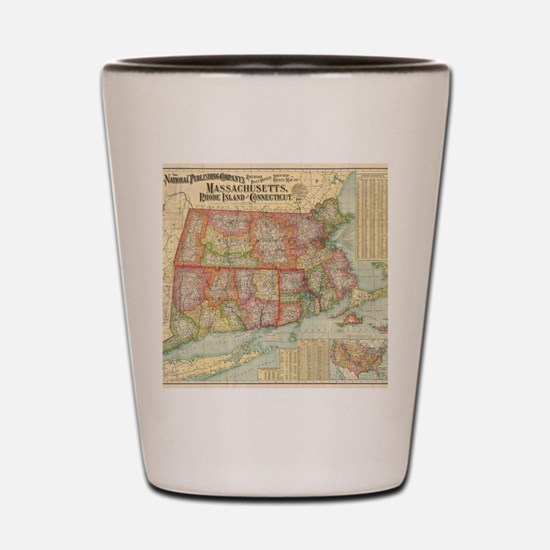 Vintage Map of New England States (1900 Shot Glass