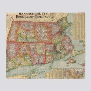 Vintage Map of New England States (1 Throw Blanket
