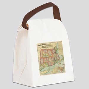 Vintage Map of New England States Canvas Lunch Bag