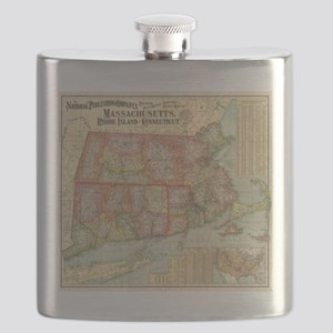 Vintage Map of New England States (1900) Flask
