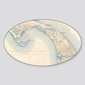 Vintage Map of Lower Cape Cod Sticker (Oval)