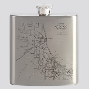 Vintage Map of The Chicago Railroad Network  Flask