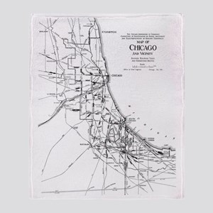 Vintage Map of The Chicago Railroad  Throw Blanket