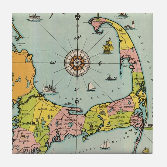 Vintage Map of Cape Cod Tile Coaster