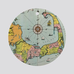 Vintage Map of Cape Cod Round Ornament