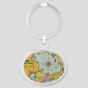 Vintage Map of Cape Cod Oval Keychain