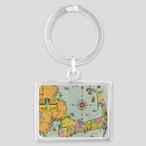 Vintage Map of Cape Cod Landscape Keychain