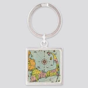 Vintage Map of Cape Cod Square Keychain