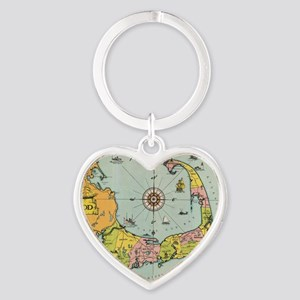Vintage Map of Cape Cod Heart Keychain