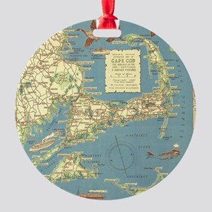 Vintage Cape Cod Map (1940) Round Ornament