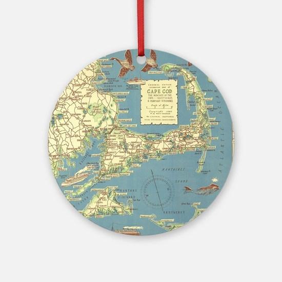 Vintage Cape Cod Map (1940) Round Ornament